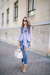 southern curls and pearls,blogger,top,jeans,shoes,bag,sunglasses,jewels,make-up,blue top,blouse,blue blouse,black sunglasses,earrings,white bag,handbag,embroidered,ripped jeans,blue jeans,sandals,sandal heels,high heel sandals,white sandals