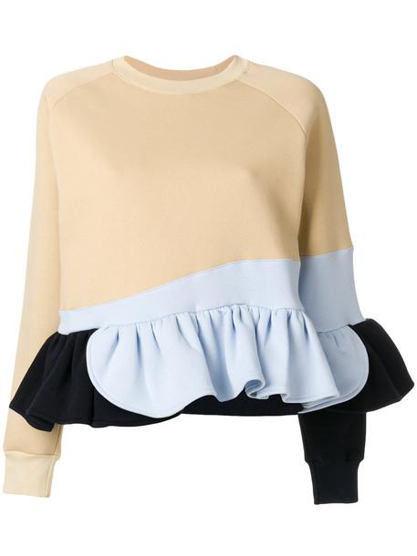 Ioana Ciolacu - frilled colour block sweatshirt - women - Cotton/Polyester - M, Nude/Neutrals, Cotton/Polyester