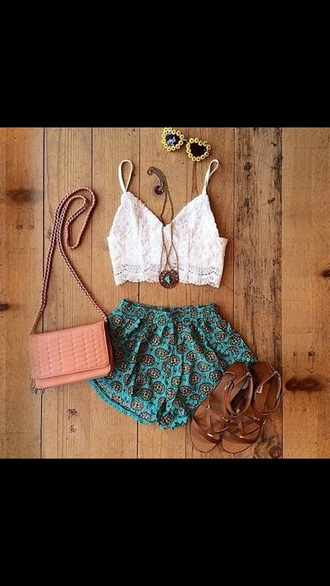 shirt white lace white lace cute crop tops sleeveless top bohemian shorts