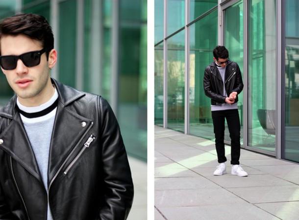starecasers blogger menswear mens jacket leather jacket jacket sweater pants shoes sunglasses mens leather jacket