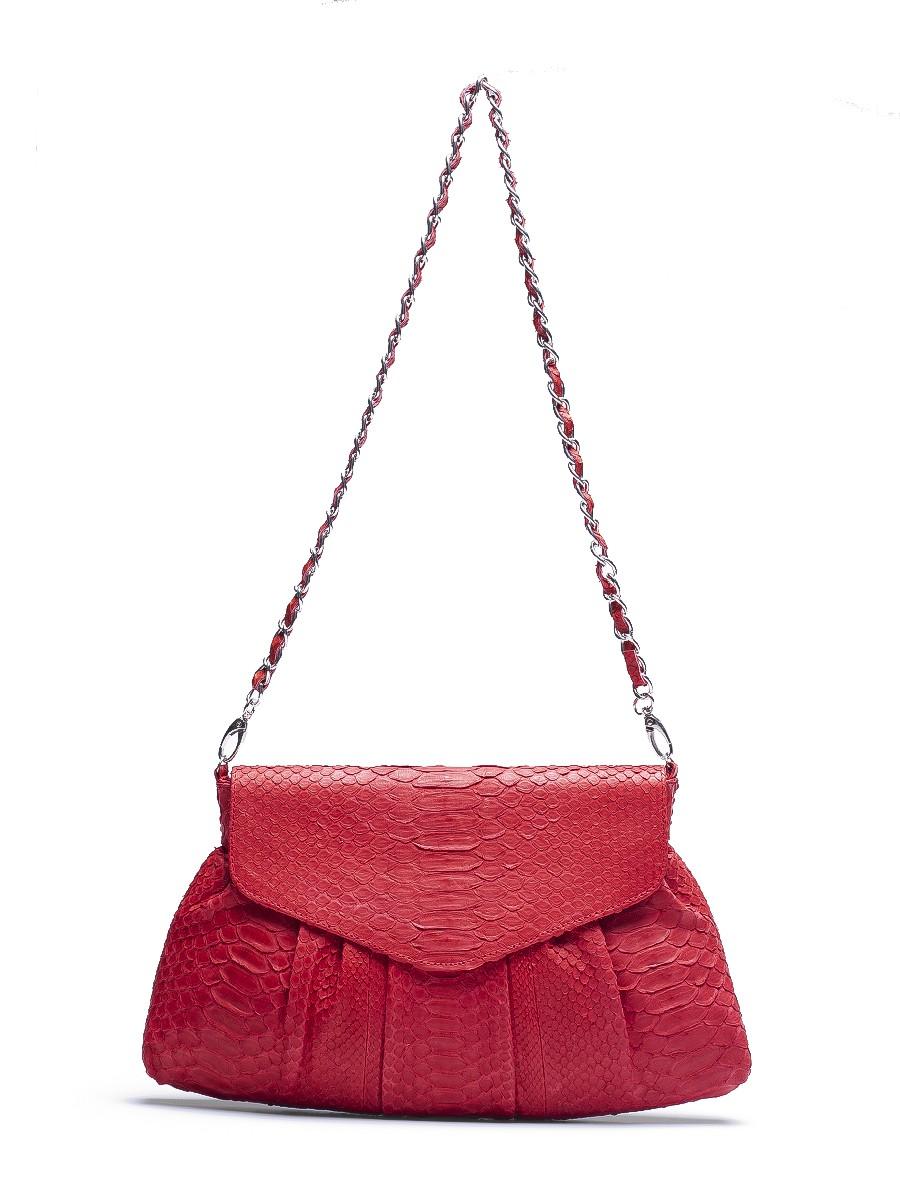 Clutch con cadena de piel de serpiente en rojo - Londali.com