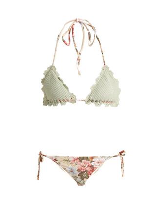 bikini floral print crochet swimwear