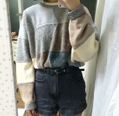 sweater,shorts,nude,grunge sweater,soft grunge sweater,old fashion,sweater jumper,jumper,grey hoodie,oversized sweater,grunge,knit