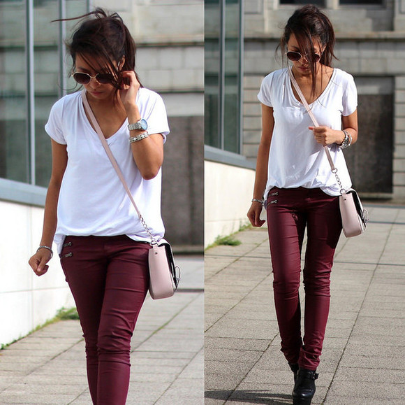burgundy round sunglasses shoes bag sunglasses t-shirt article 21 blogger