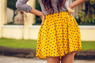 skirt polka dots heart yellow yellow skirt
