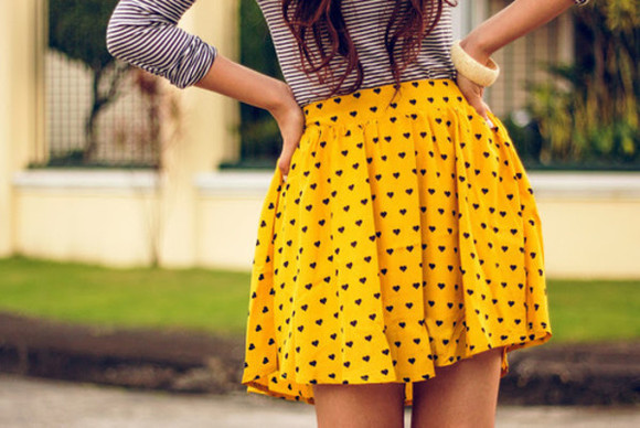skirt yellow yellow skirt polka dots hearts
