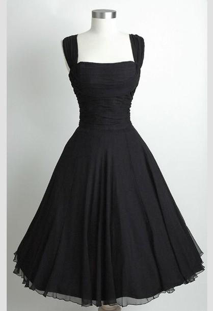 dress, little black dress, hourglass, 50s style, black, black prom ...