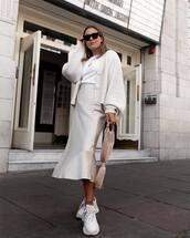 bag,handbag,sneakers,white sneakers,midi skirt,silk,cardigan,white t-shirt,sunglasses