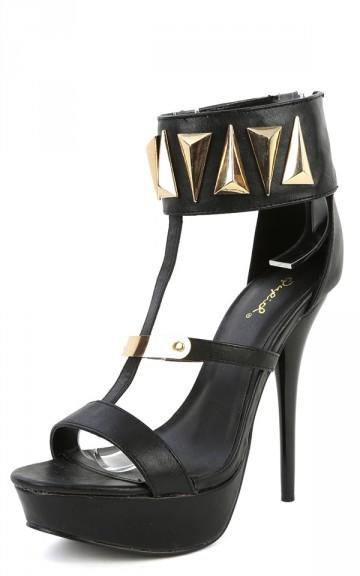 Qupid Dazzling-124 Black Metallic T Strap Heels | MakeMeChic.com