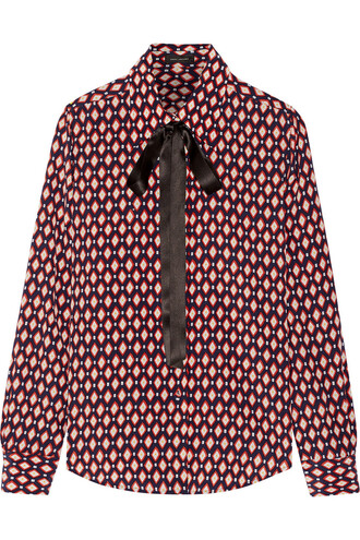 shirt bow silk red top