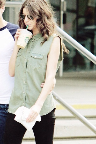 blouse khaki eleanor calder top jeans