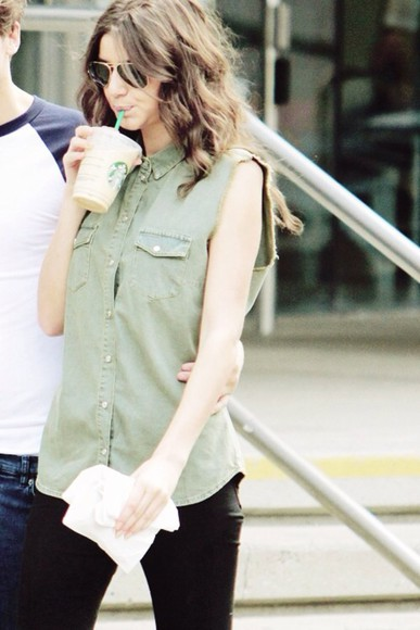 khaki blouse eleanor calder, top, green