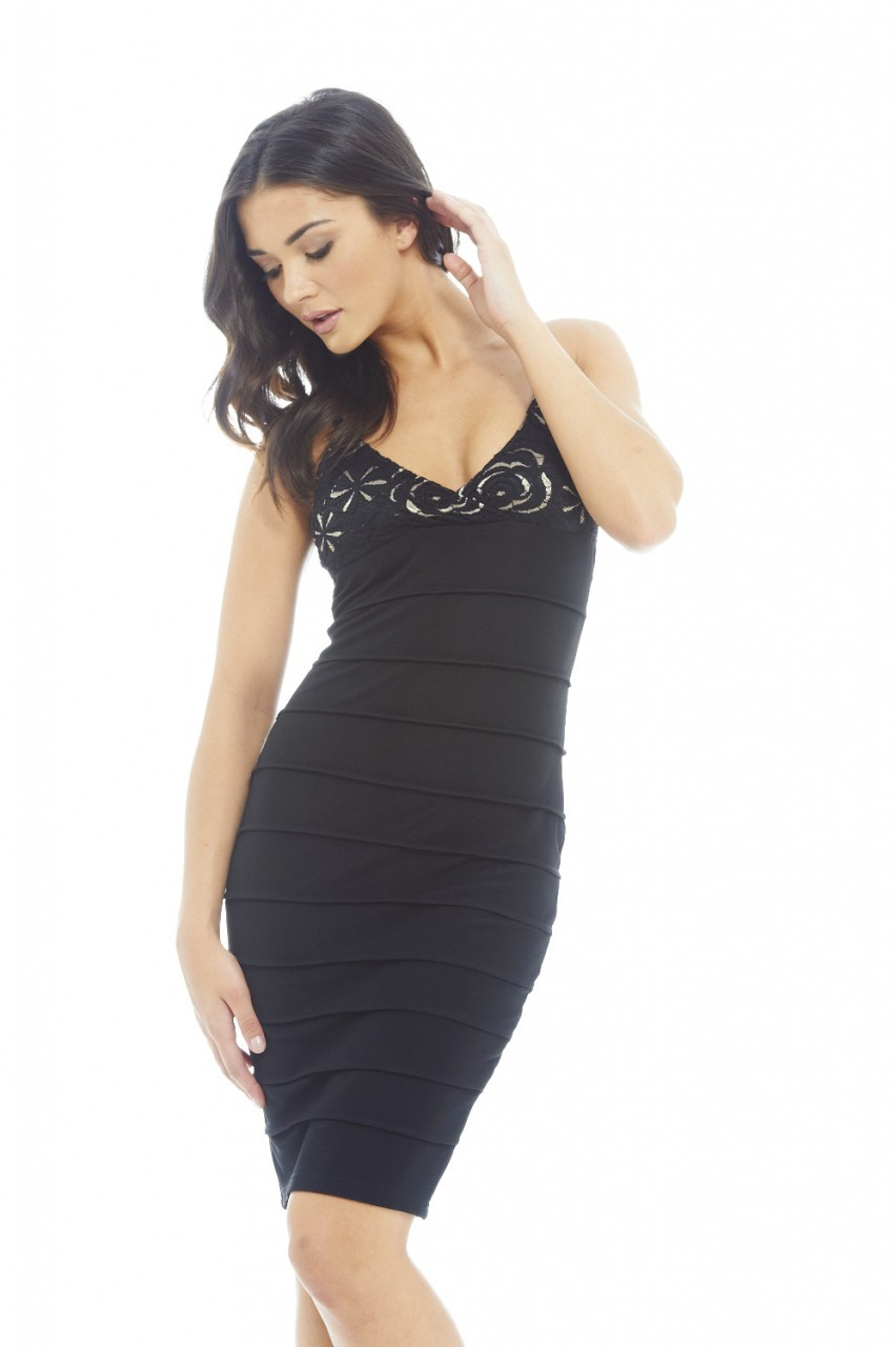 Black Lace Top Bandage Bodycon Dress