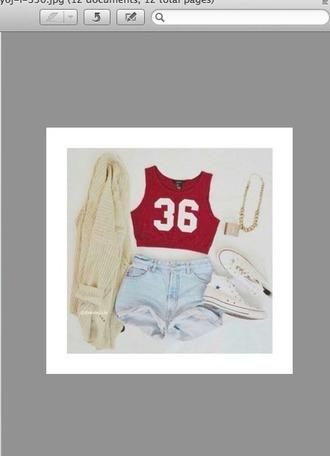 shorts light blue cardigan neklace white converse top shirt