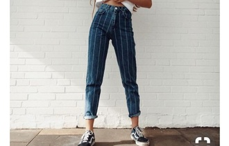 jeans high waisted mom jeans pin-striped