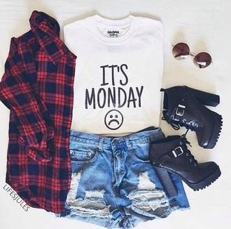 shoes black heels rock indie style shirt its monday blouse short t-shirt monday white sad