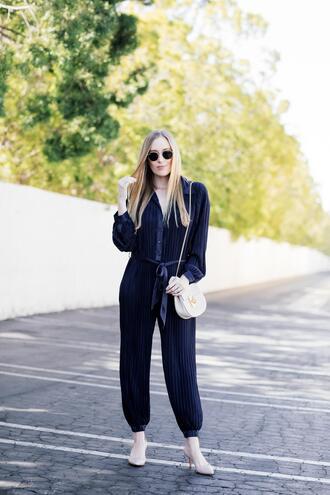 eat sleep wear blogger jumpsuit shoes bag blue jumpsuit shoulder bag white bag pumps spring outfits