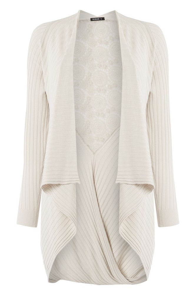 Roman Originals - Lace Open Long Ribbed Cardigan Casual Waterfall Ladies Beige