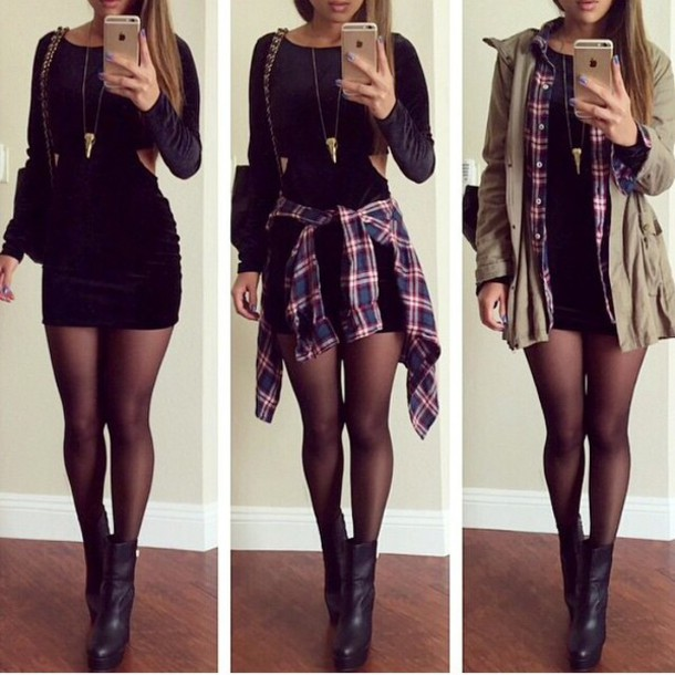shoes automne beautiful pretty bag coat jewels shirt dress earphones blouse black boots ankle boots little black dress short dress black dress velvet dress black bodycon dress military style jewelry jeans jacket spring winter outfits fall outfits green jacket hat flannel shirt short black dress