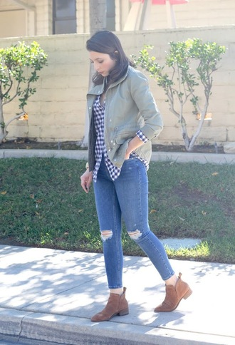 cost with me blogger jacket top jeans shoes fall outfits skinny jeans ankle boots brown boots shirt
