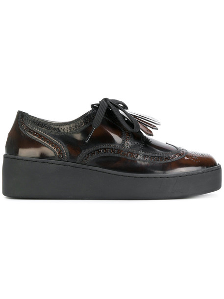 Robert Clergerie women shoes lace leather brown