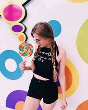 top,zaful,girly,black,hapa time,halter top,shorts,High waisted shorts,crop tops,grunge,grunge t-shirt,moon,black jeans,all black everything,casual,cute,style,dope
