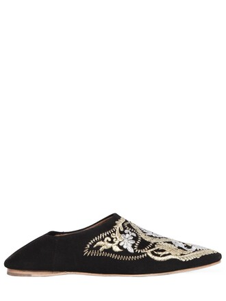 embroidered flats suede gold black shoes