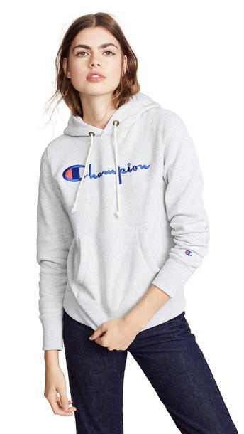 Champion Premium Reverse Weave Hooded Sweatshirt in grey