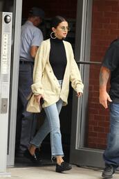 top,turtleneck,cardigan,jeans,denim,flats,selena gomez,fall outfits,bodysuit