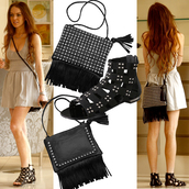 black bag,studded,lindsay lohan,bag