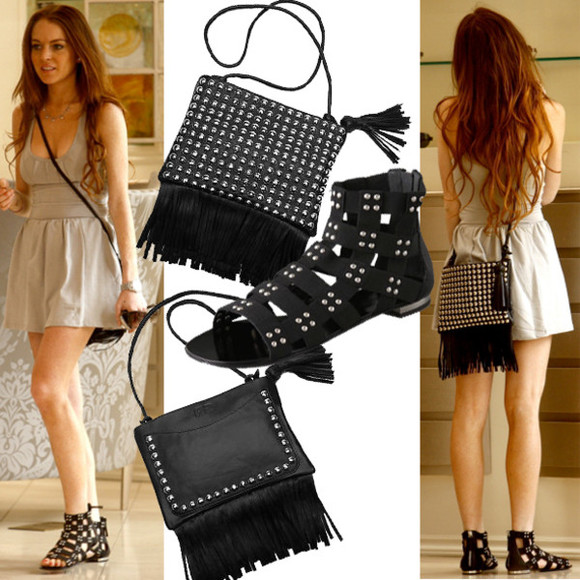 lindsay lohan black bag studded