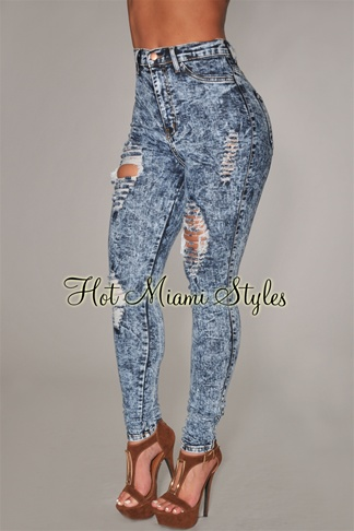 Dark Acid Wash Denim Destroyed High-Waist Skinny Jeans