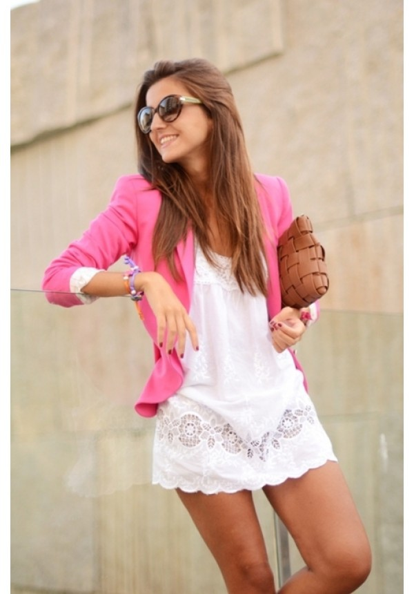 jacket colorful hot pink cotton dress..