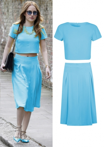 Elegant Blue Two-piece Office Lady Dress Wholesale From China