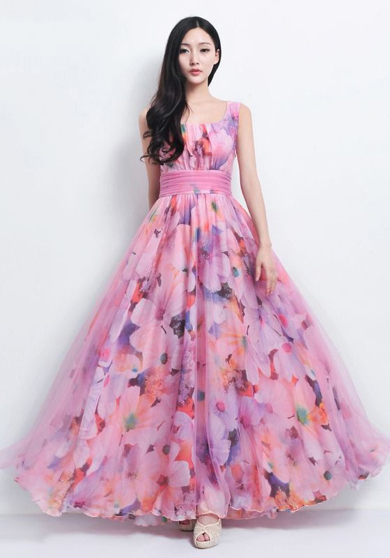 Wide U Neckline Long Dress