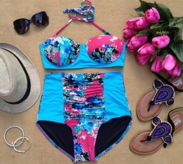 swimwear blue high waisted swimwear