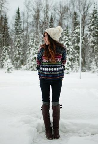 sweater winter outfits tribal pattern green pattern warm
