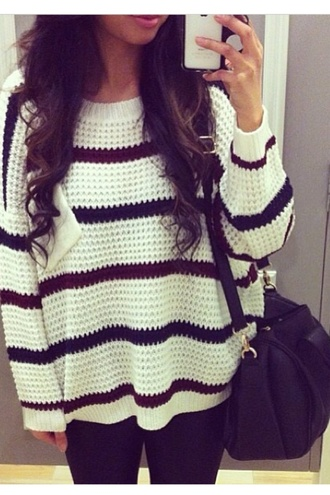 sweater jewels heavy knit jumper striped jumper oversized stripes oversized sweater striped sweater bag black cute hipster red sweater white sweater comfy comfy sweater style
