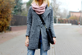 beauty fashion shopping blogger scarf jeans messenger bag grey coat
