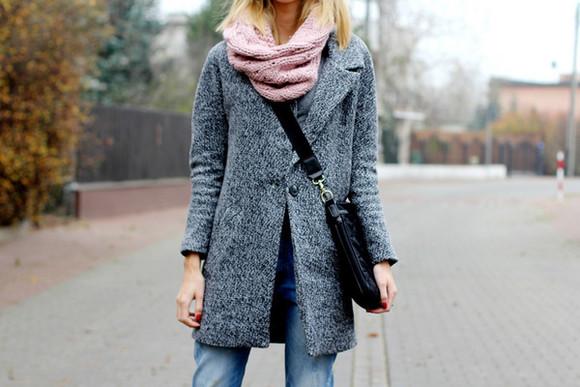 scarf blogger beauty fashion shopping jeans messenger bag grey coat