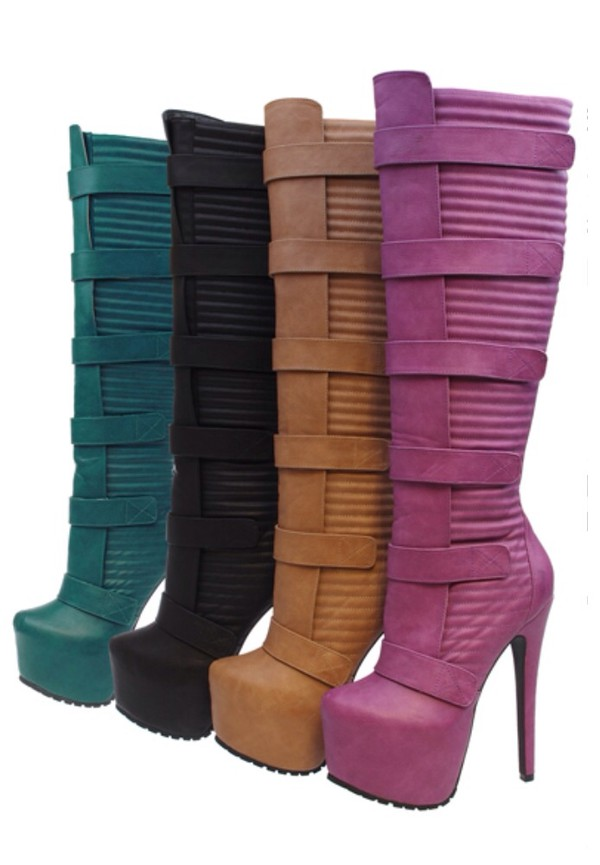 shoes purple black beige fashion heidi klum knee high boots style