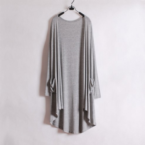 Long Slim Knitted Irregular Hem Cardigan - NextModal Fashion