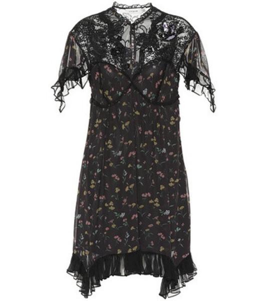 Coach Lace-yoke floral dress in black