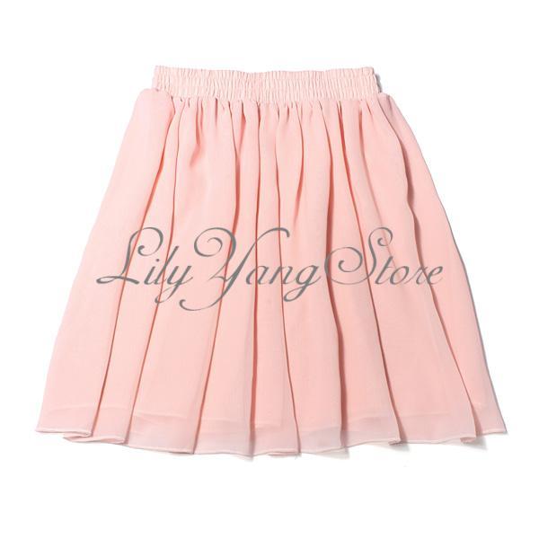 Lady Retro High Waist Pleated Double Layer Chiffon Elastic Short Skirt Dress | eBay