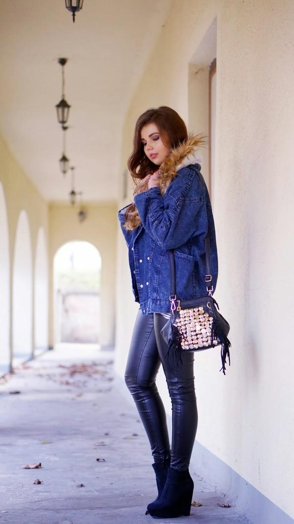 a piece of anna jacket bag pants blouse scarf shoes