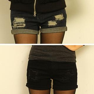 Distressed Roll-Up Denim Shorts - FASHION DIVA | YESSTYLE