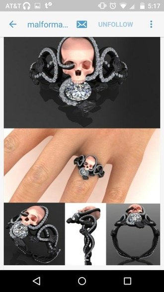 jewels ring skull dimonds