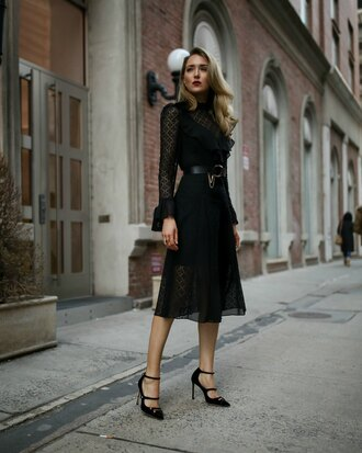 memorandum blogger dress shoes belt bag pumps black dress midi dress black midi dress