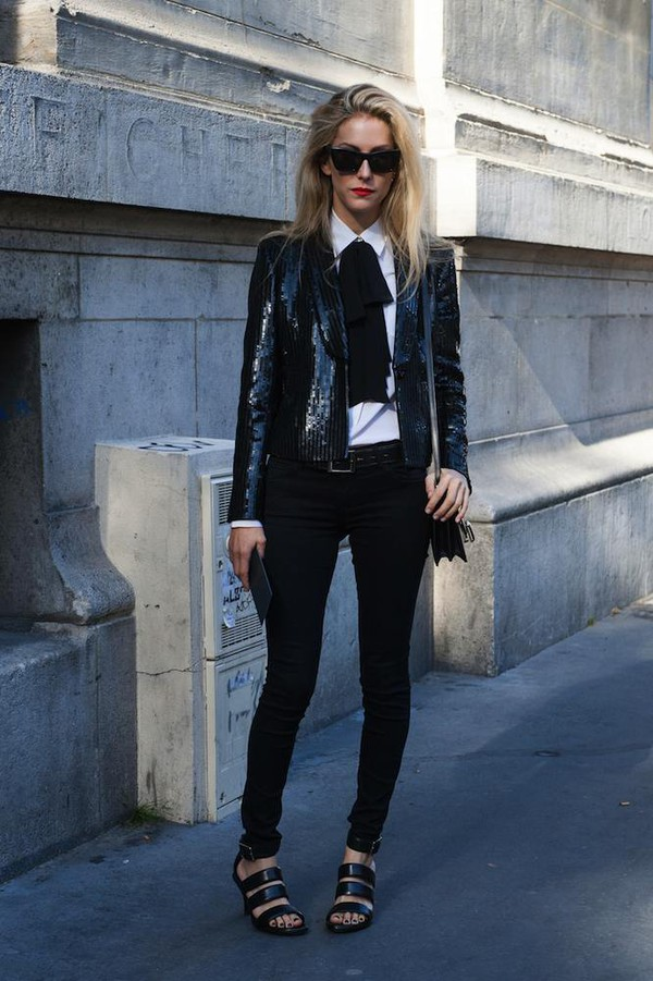jacket sparkle fashion week 2014 streetstyle fall outfits top