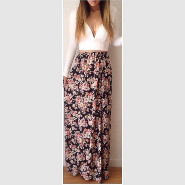 dress white crop tops floral skirt skirt